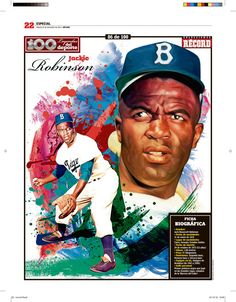 Jackie Robinson 100 Leyendas del Deporte / 100 Sports Legends by Jesús R. Sánchez, via Behance