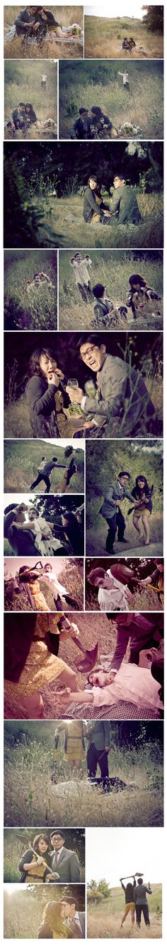 Zombie engagement photos. omg I love these people.