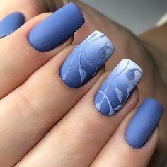 Blue Nails, My Nails, Hair And Nails, Nail Art Blue, Blue Art, Stylish Nails, Trendy Nails, Beautiful Nail Art, Beautiful Nail Designs