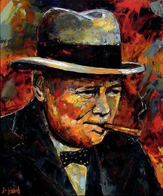 Winston Churchill Portrait Painting by Debra Hurd