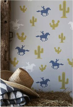England-based Hibou Home. From classic cowboys to an equestrian theme, each paper is sophisticated with a contemporary twist. The collection is meticulously produced with a wonderful depth and purity of colour. Available at Rockett St. George.
