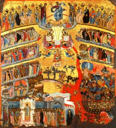 Icon of the Last Judgment Our Lord Jesus Christ who is God's only begotten Son, lived, died, and was risen from the dead for the tota. Byzantine Icons, Byzantine Art, Religious Images, Religious Art, The Last Judgment, Lion Of Judah, Orthodox Christianity, European Paintings, Virgin Mary