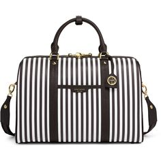 Henri Bendel Centennial Stripe Weekend Duffle ($498) ❤ liked on Polyvore featuring bags and luggage