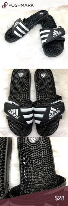 adidas Men's Slide Sandal Sandals Black Size 10 US ✿Size: 10 ✿Color: Black and White ✿Design: Slide Sandal  Condition: Great used condition. adidas Shoes Sandals & Flip-Flops