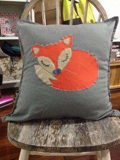 Handmade sleepy fox cushion by Just Jacinta Designs. https://www.facebook.com/pages/Just-Jacinta-Designs #justjacintadesigns