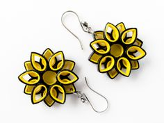 Paper jewelry - Bumble bee inspired paper quilled flower earrings - First anniversary gift -Handmade, ecofriendly, lightweight paper earring...