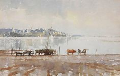 Edward Seago (1910-1974, UK) — «Oxen by The Irrawaddy»