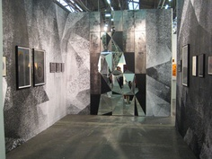 Mirrored installation and colored pencil drawings on black paper by Claudia Weiser from Sies and Höke, Düsseldorf (Armory)