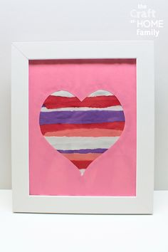 Looking for kid-made Valentine's Day craft ideas? This framed heart craft made from strips of torn construction paper is deceptively simple to make—and it would also make a great gift to give to parents or grandparents! This easy Valentine's day craft is perfect for kids of all ages, including toddlers and preschoolers or even elementary school children. It can be made at home, or in the classroom at school to give to parents as a gift! Find out how to make this cute framed heart-shaped craft! Valentine's Day Crafts For Kids, Toddler Crafts, Crafts To Make, Gifts For Kids, Fun Valentines Day Ideas, Valentines Day Activities, Valentines Diy, Preschool Valentine Crafts, Valentine's Day Printables