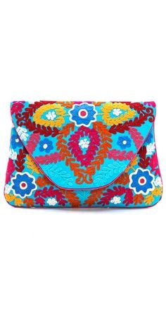 MOYNA Large Flower Embroidered Clutch | SHOPBOP