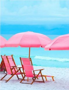 Pink umbrellas and beach chairs. What could be better?