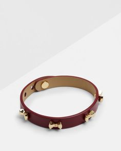 Micro bow leather bracelet - Oxblood | Gifts for Her | Ted Baker UK