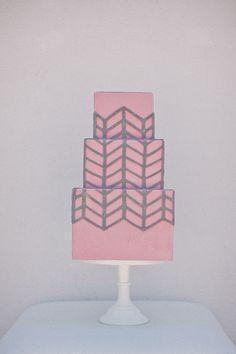 pink and gray modern wedding cake