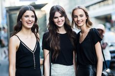Julia van Os, Vanessa Moody, Maartje Verhoef after Versace Haute Couture 2015 in Paris