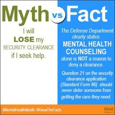 DCoE answers questions about your security clearance application or renewal at http://www.dcoe.mil/blog/15-11-19/Fact_vs_Fiction_How_Psychological_Health_Care_Can_Affect_Your_Security_Clearance.aspx. #MentalHealthMonth #KnowTheFacts