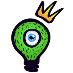 Monster: green light bulb with eye and crown.