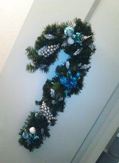 Blue Candy Cane Wreath