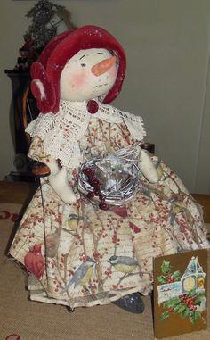 "Primitive Snowman Doll ""Elizabeth"" Vintage Hat Crinoline Antique New Year's Card #NaivePrimitive #Atist"