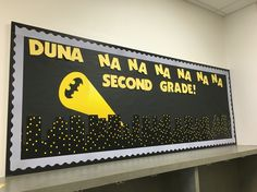 Second grade bulletin board - superhero - batman - Duna na na na na na na Second Grade - cityscape - back to school - superheroes