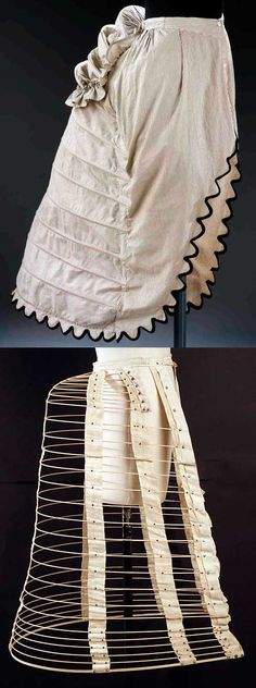 By the 1860s, crinolines had gotten as big as they could go. The shape evolved into the crinolette (two seen here), which had a flat front and hoops only in the back. This style quickly developed into the bustle.