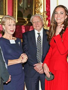 Helen Mirren, who famously portrayed Queen Elizabeth II onscreen, shares a laugh with the Duchess of Cambridge during the Dramatic Arts reception at Buckingham Palace in London. http://www.people.com/people/gallery/0,,20787889,00.html#30104815