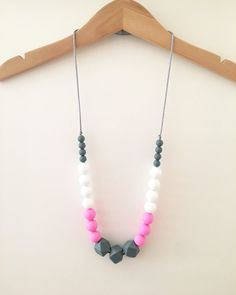 "Silicone Teething Necklace ""Dorothy"", breastfeeding necklace, teething jewellery, pink, grey, round and geometric beads by SebandRoo on Etsy"