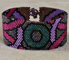 Geometric Jewel Tone Bracelet  Peyote Pattern by CreativeGoods, $4.20