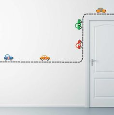 Build Your Own Road- READY TO SHIP-Reusable Wall Stickers, 10 Cars, Transportation, Child Decor, 70 Piece Road Awesome like an opossum for the boys' playroom.