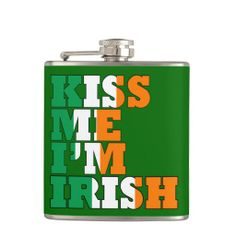 Shop Funny Irish whiskey Hip Flask created by Paddy_O_Doors. Personalize it with photos & text or purchase as is! Green Day, Cool Flasks, American Drinks, Irish American, St Patrick's Day Crafts, Irish Whiskey, Kiss Me, St Patricks Day, Gifts For Dad