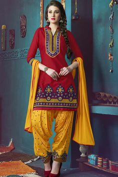 Red & Yellow Pure Cotton Unstitch Patiala Suit