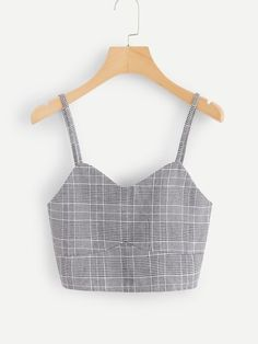 Shop Checked Cami Top With Asymmetrical Hem Skirt at ROMWE, discover more fashion styles online. Teenager Outfits, Outfits For Teens, Trendy Outfits, Cool Outfits, Fashion Outfits, Womens Fashion, Cute Tank Tops, Cami Tops, Cute Shirts