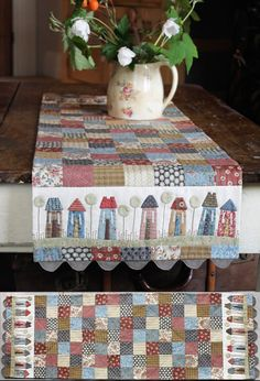 Tiny Town Table Runner by Anni Downs of Hatched and Patched Patchwork Table Runner, Table Runner And Placemats, Table Runner Pattern, Quilted Table Runners, Small Quilts, Mini Quilts, Anni Downs, House Quilt Block, Place Mats Quilted