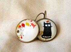 """Oorbellen """"kat, vogel en bloemen"""" van Thislia creations op DaWanda.com"""