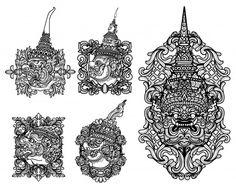 Tattoo art giant set hand drawing and sketch black and white Premium Vector Cambodian Tattoo, Khmer Tattoo, Thai Tattoo, Hawaiian Tribal Tattoos, Samoan Tribal Tattoos, Maori Tattoos, Cool Art Drawings, Drawing Sketches, Body Art Tattoos
