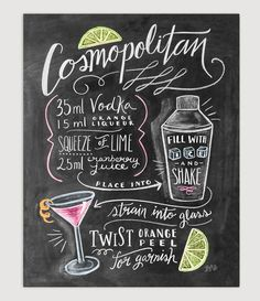 """Cosmopolitan"" Cocktail Recipe - Print by Lily & Val."