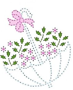 Floral Umbrella Embroidery Pattern for Greeting Cards by Darse, $1.50