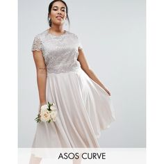 ASOS CURVE Lace Metallic Crop Top Midi Skater Dress ($47) ❤ liked on Polyvore featuring dresses, plus size, silver, scalloped lace dress, scalloped dress, tall dresses, skater dress and midi dress