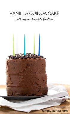 Gluten-Free Vanilla Quinoa Cake made with a super healthy vegan chocolate frosting - yum! Recipe via @simplyquinoa