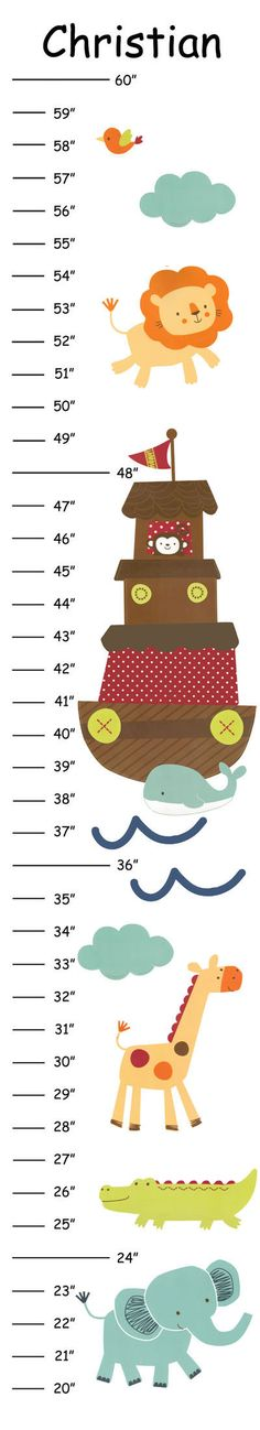 Personalized Noah's Ark Canvas Growth Chart by CamieTurnerDesigns, $21.00