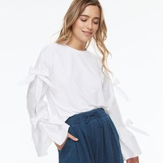 k/lab Ribbon Accent Top, White