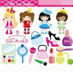 Diva Princess Party Digital Clipart / Little by CeliaLauDesigns, $5.00