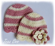 Handmade Crochet Lovliness by icrochetedthis on Etsy Twin Baby Girls, Cute Baby Girl, Flower Hats, Baby Flower, Baby Girl Beanies, Cute Twins, How To Have Twins, 2nd Baby, Button Flowers