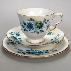 VeryPretty Queen Anne Blue Rose Tea Cup, Saucer & Plate Bone China Trio Patt No 8500