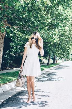 love the shoes and bag and white eyelet dress and tree lined sidewalk Ivory Bridesmaid Dresses, Amazon Dresses, White Eyelet Dress, Fit N Flare Dress, Little White Dresses, White Fashion, Women's Fashion, Classy Dress, Spring Summer Fashion