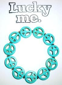 Lucky Me Brand Turquoise Peace Sign Bracelet - Free Shipping   $6.95