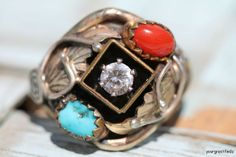 Vintage Southwestern Tribal Gold Fill and Sterling Silver Band Ring - Turquoise Coral Cubic Zirconia.