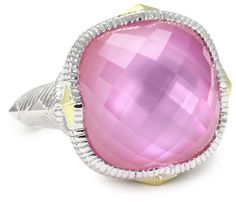 "Judith Ripka ""Contempo"" Pink Cushion Stone Ring"