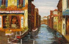 Romantic Venice 23 x 36 Original Oil Painting Palette Knife Bridge Water Big Venice Gondola Italian Art by Marchella