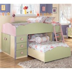 Signature Design By Ashley Doll House Twin Loft Bed With Built In Drawers,  Doors, And Shelves   Marlo Furniture   Loft Bed Alexandria, Virgi.