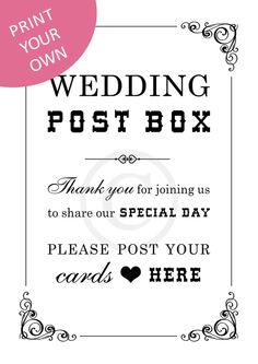 Digital Download - Wedding Post Box Sign (Elz)